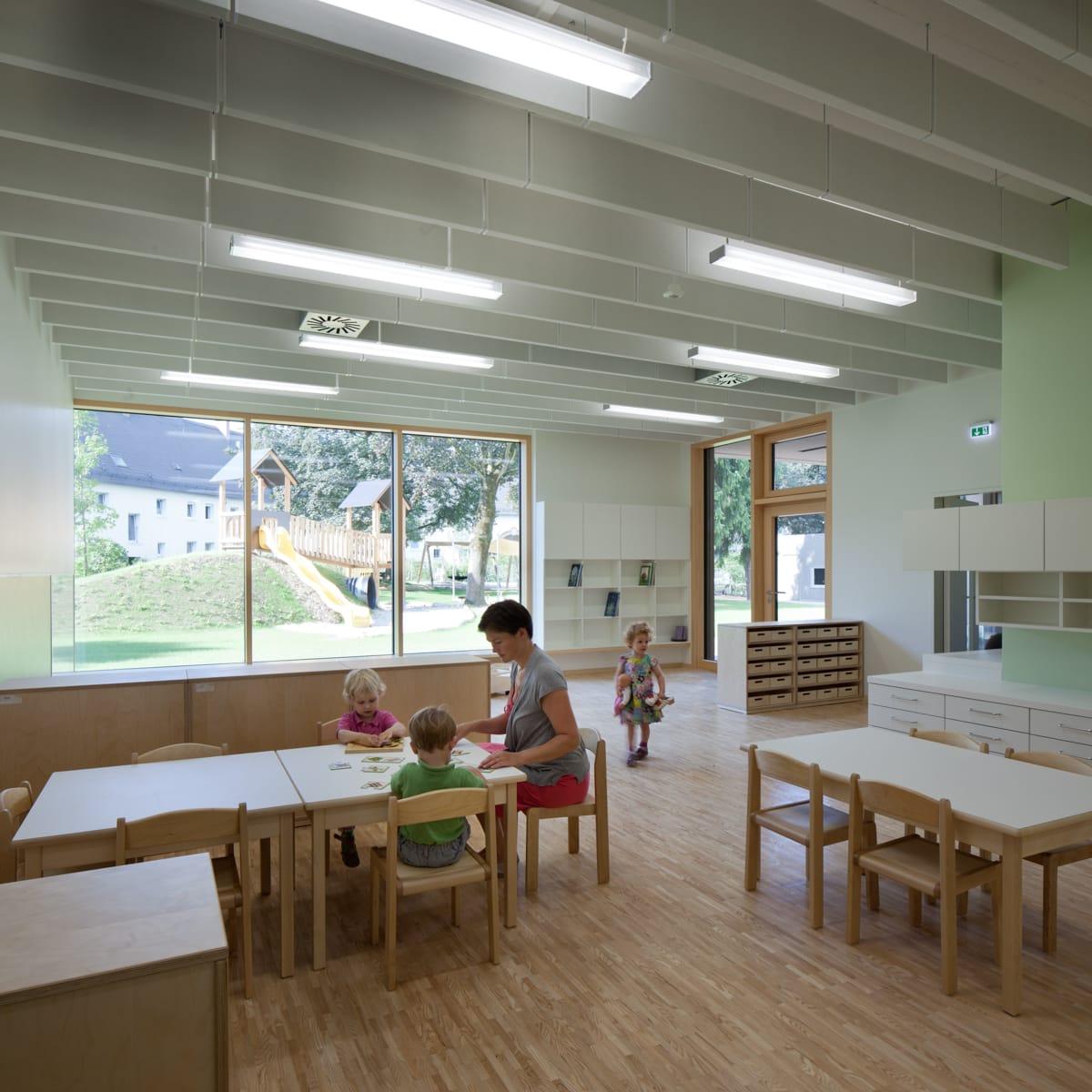 kindergarten, krabbelstube, architektur, voll das leben, kinder, linz, spallerhof, tolle räume