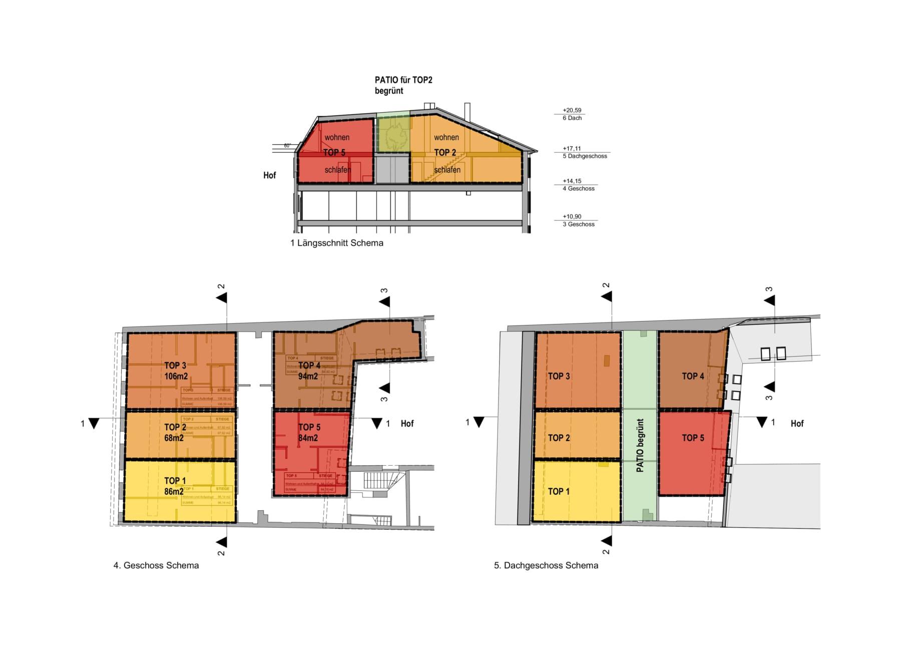 Lageplan,ansicht, linz, architekt, umbau, im bestand, sanieren, dachausbau