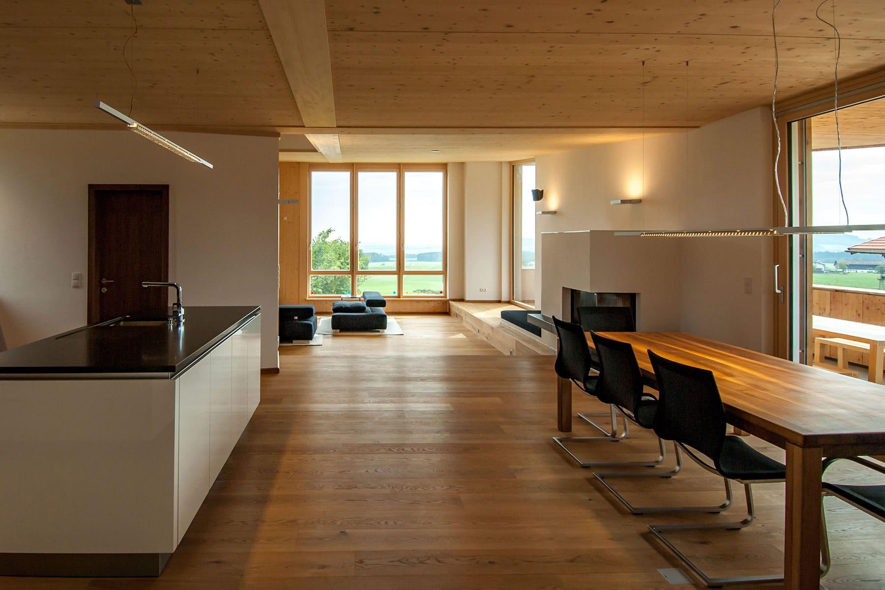 wohnküche, holzhaus, architekt, haus, bauernhof, umbau, salzburg, landleben, loft, architektur