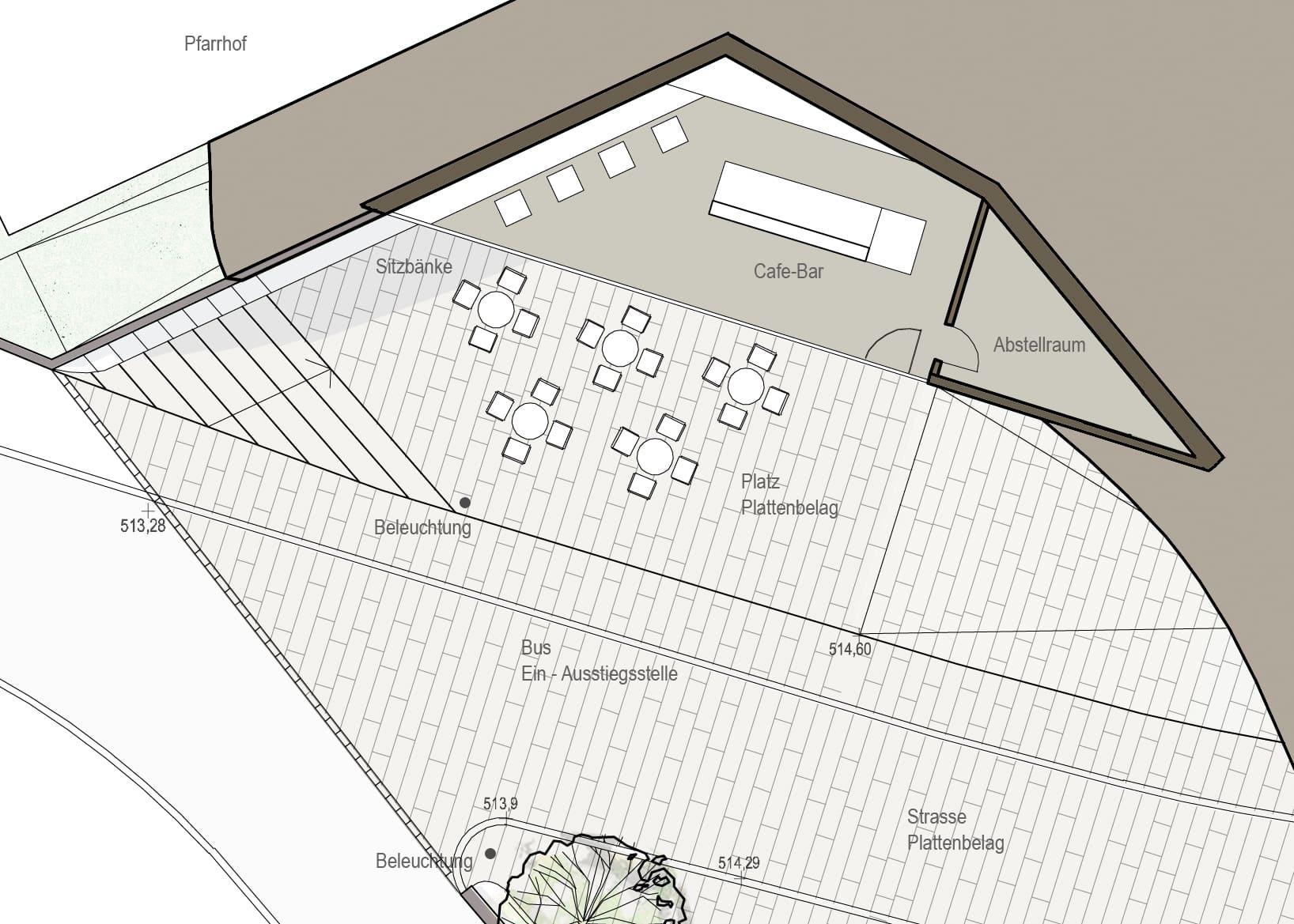 Kirchenplatz in Kefermarkt, ortsplatz, dorfplatz, neue mitte, neue geomantie, architekturwettbewerb