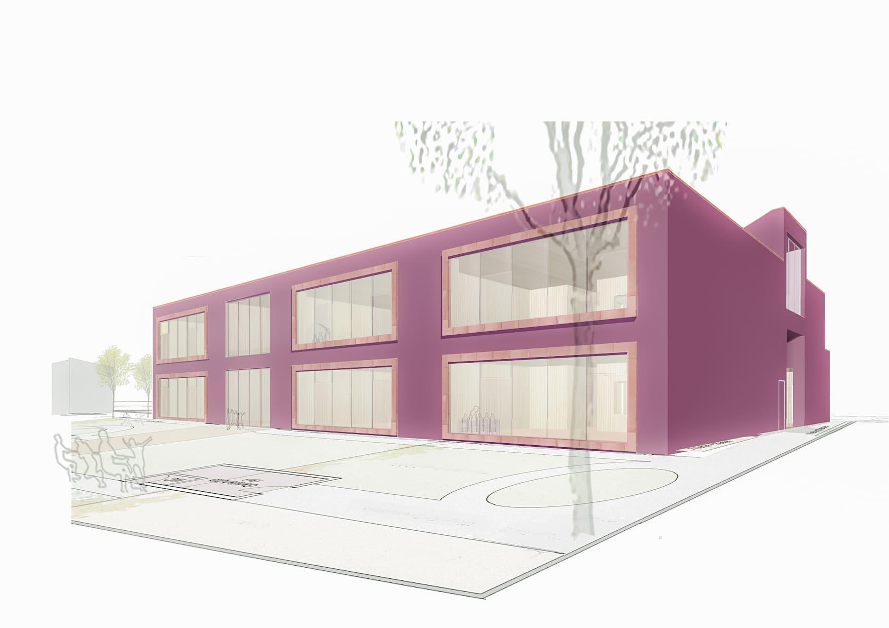 Kindergarten in Wien, krabbelstube, architekturwettbewerb, farben, holz
