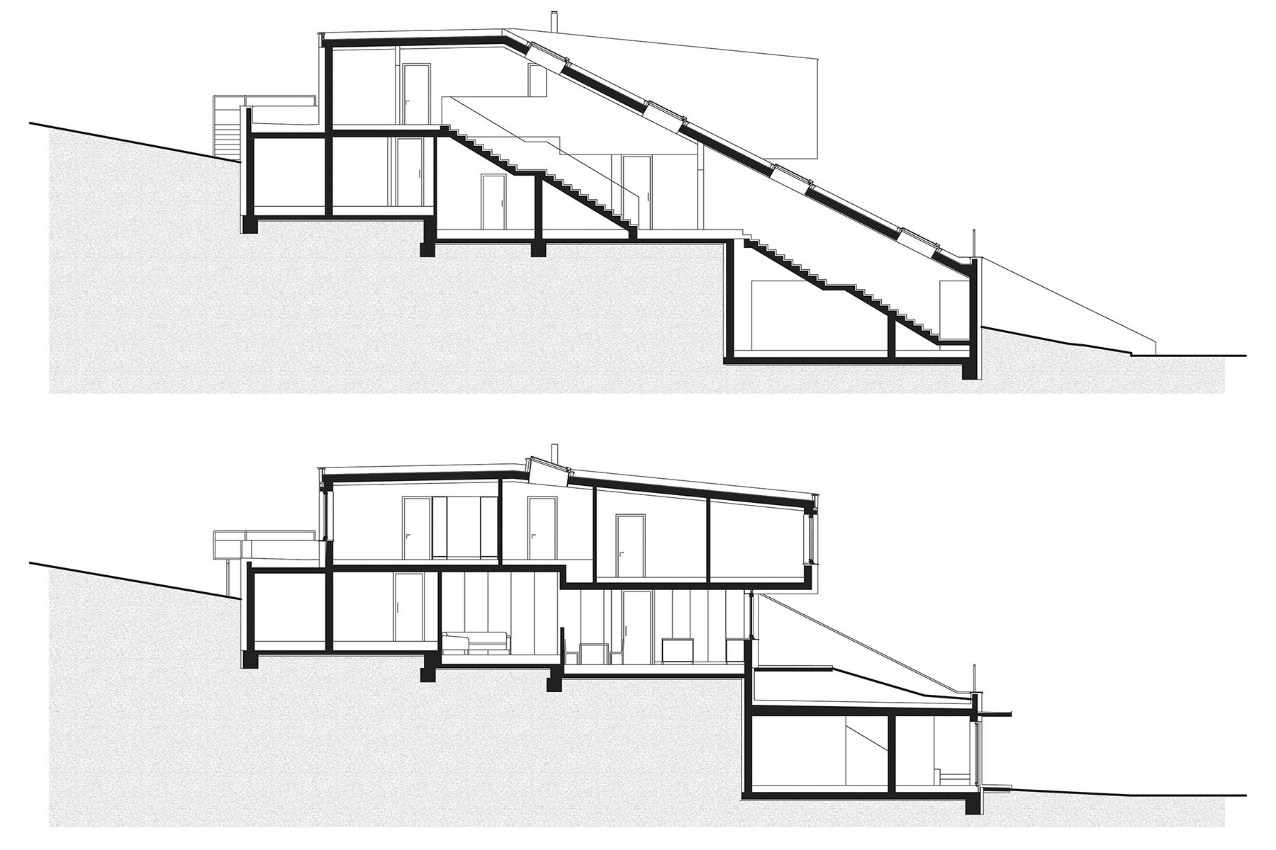 Schnitt, Haus am Berg, architekt, hanghaus, haus am hang, architektur, architektenhaus, gramastetten