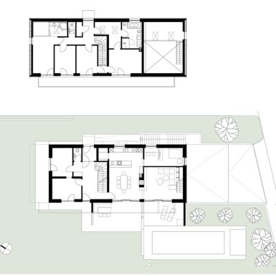 grundriss, haus im hang, architekt, architektenhaus, architektur, neubau, villa, familie