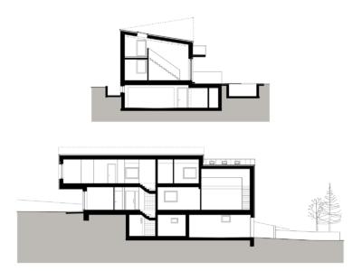schnitt, haus im hang, architekt, architektenhaus, architektur, neubau, villa, familie