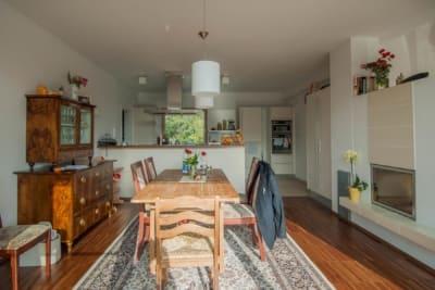wohnküche, haus im hang, architekt, architektenhaus, architektur, neubau, villa, familie