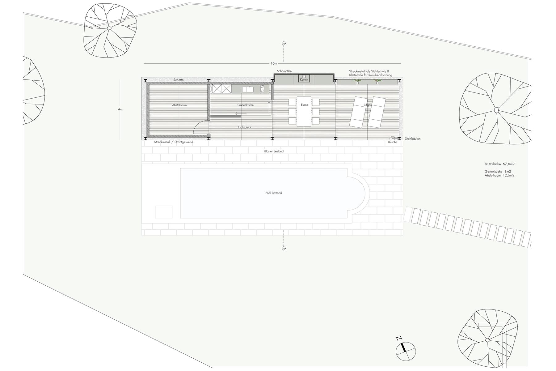 grundriss, ARCHITEKT, Poolhaus, Architektenhaus, Gartenlaube, Chillen am Pool, Sommerlaune