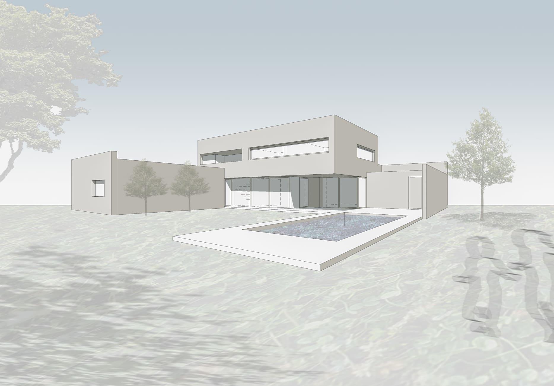 Architektenhaus, Familie, Haus im Grünen, Pool, Patio, Stadthaus