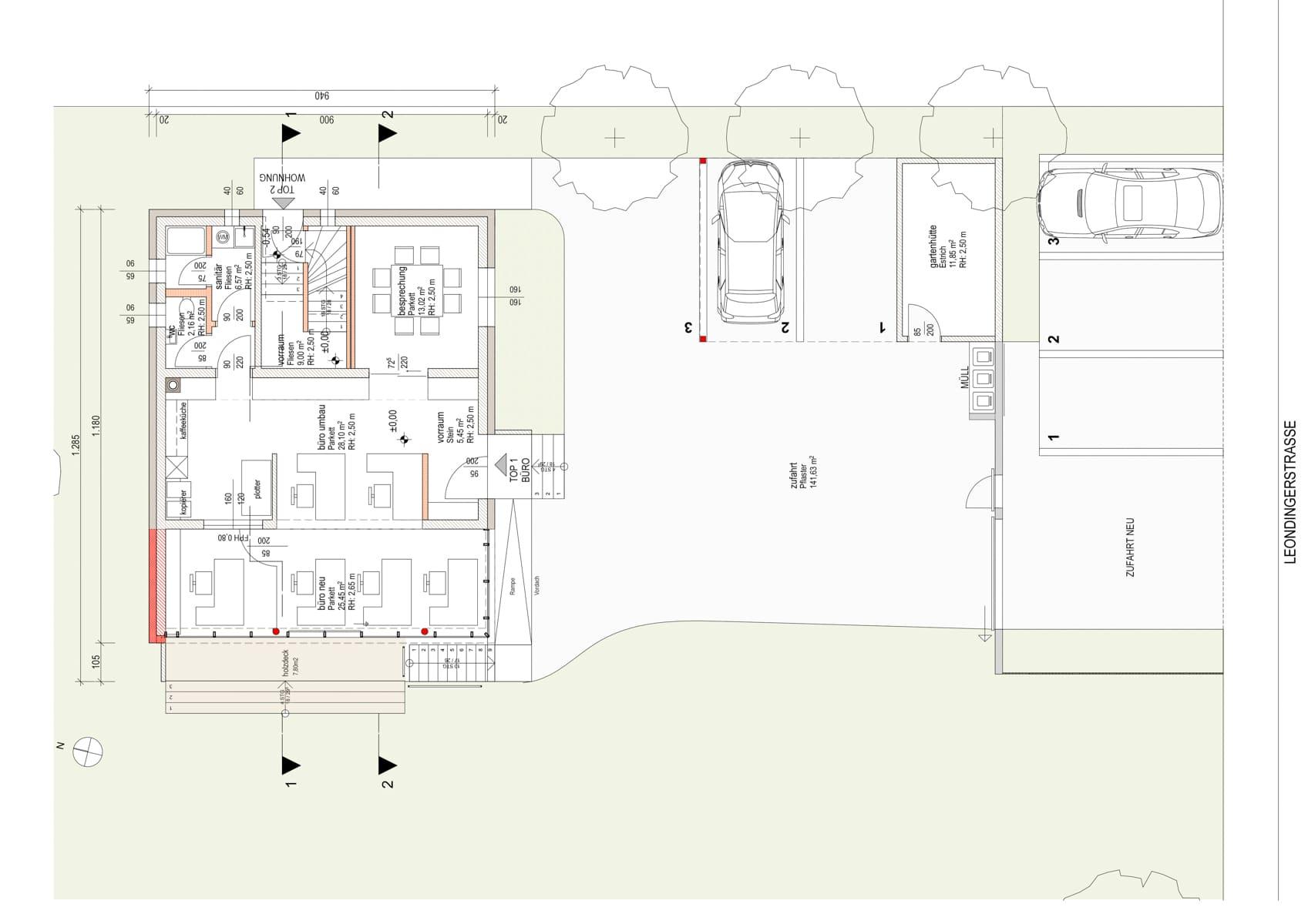 grundriss, Umbau in Pasching; architektur; pasching; zubau; büroerweiterung; wohnung