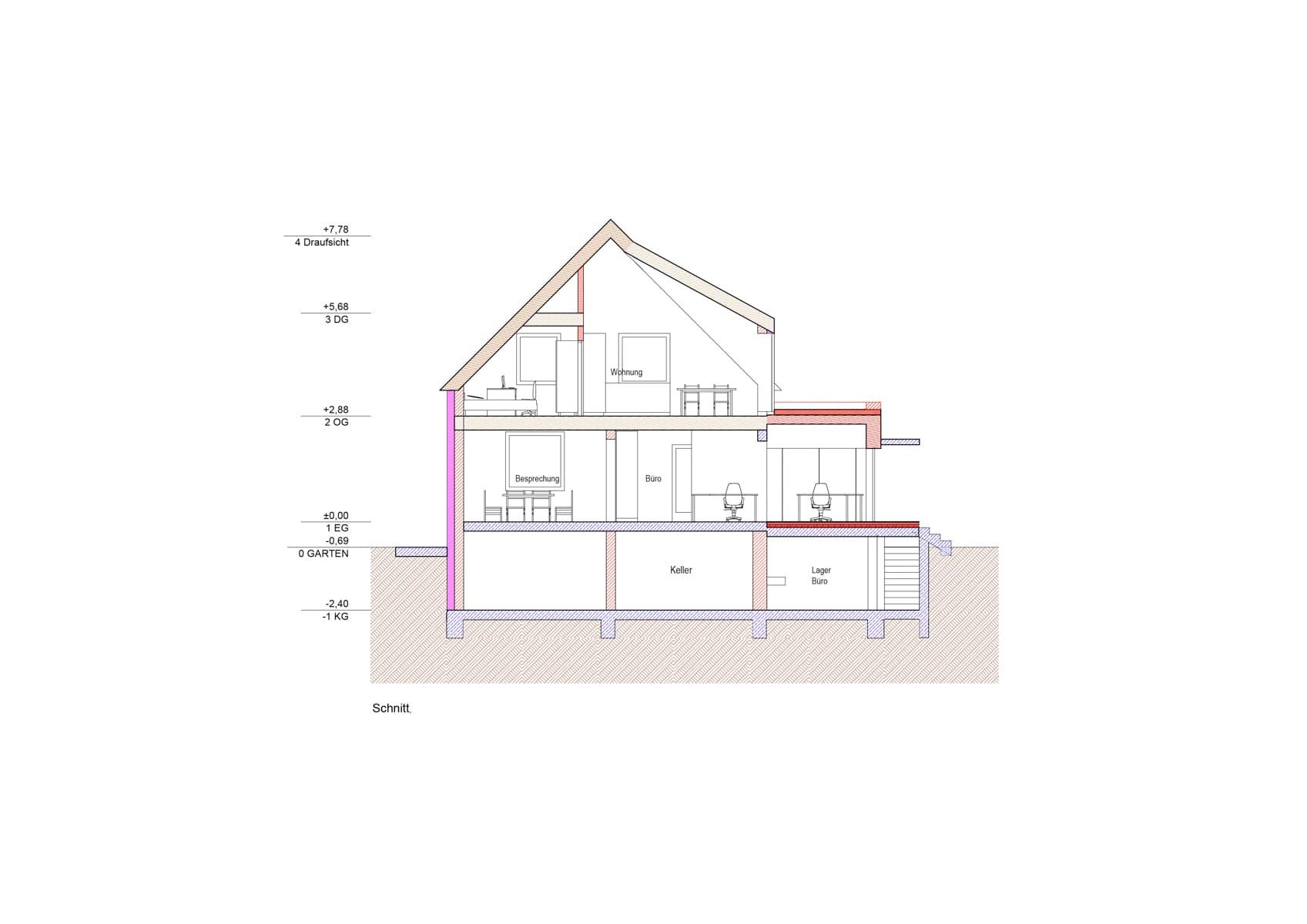 schnitt, Umbau in Pasching; architektur; pasching; zubau; büroerweiterung; wohnung
