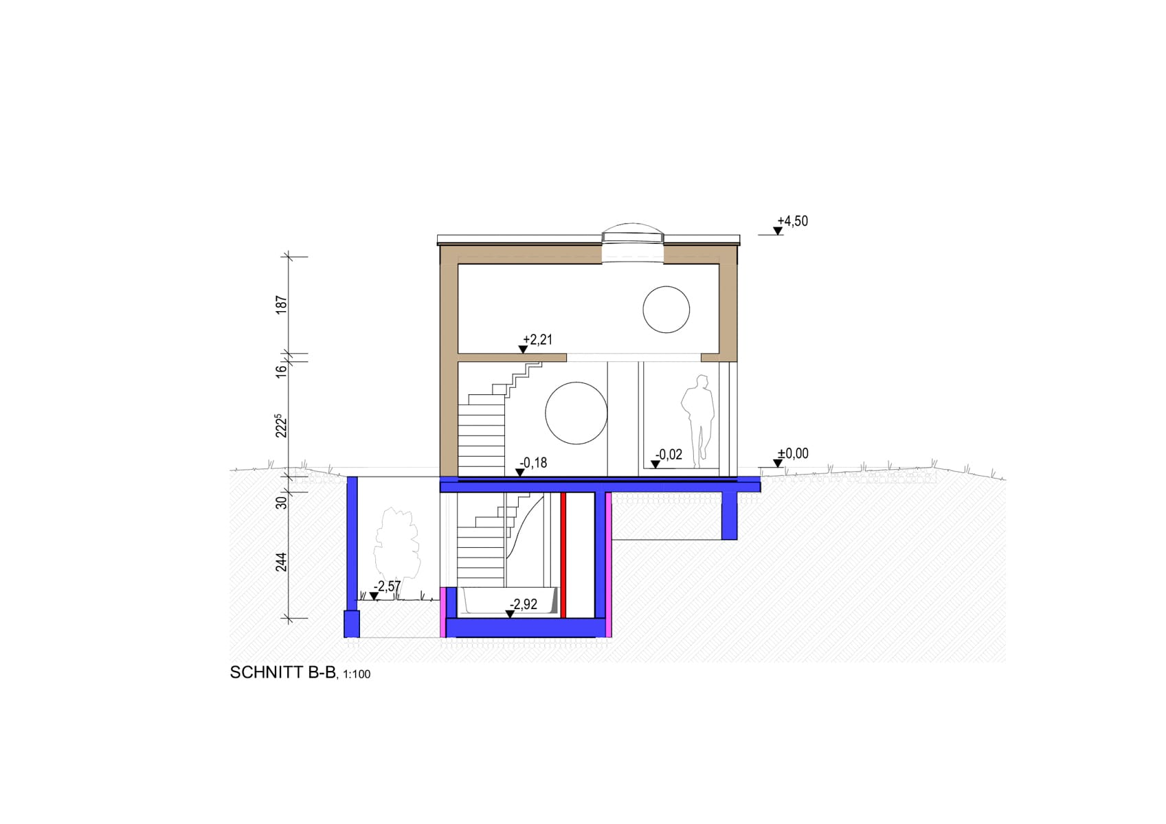 schnitt, tiny house, schrebergarten, entwurf, architektenhaus, landleben, buddha, japan, teezeremonie, teehaus